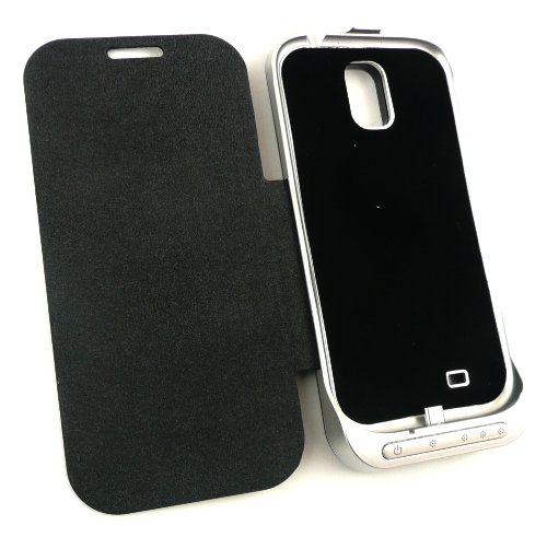 Emartbuy ® Samsung Galaxy S4 I9500 Powerbank Schwarz Notfall Back-Up Batterie 3200Mah Wallet Mit Integriertem Ständer Viewing