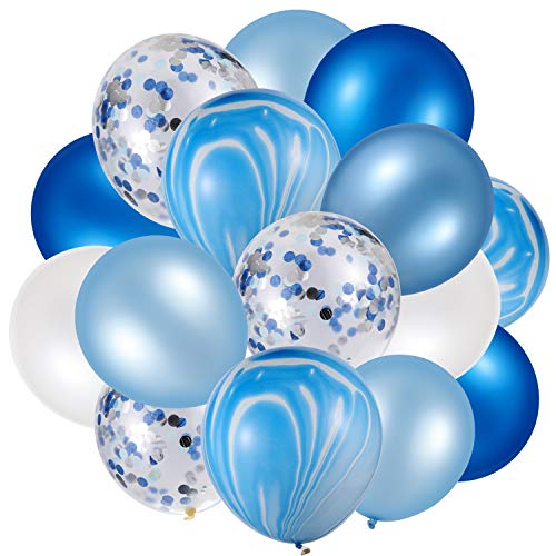 60 Pieces 12 Inch Agate Latex Balloons Confetti Balloons Colorful Balloons for Jungle Baby Shower Wedding Office Birthday Party Supplies (Blue, White)