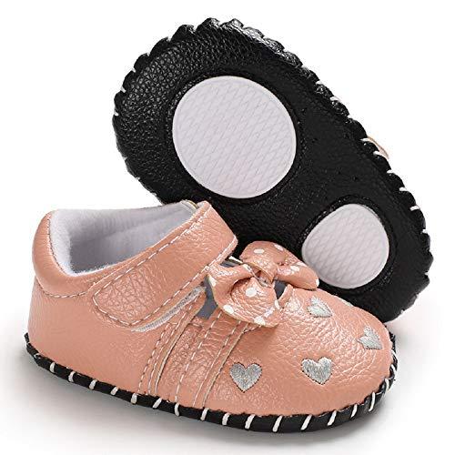 Meckior Infant Baby Girls Sandas Summer Soft Leather No-Slip Princess Shoes (6-12 Months, Pink 2)