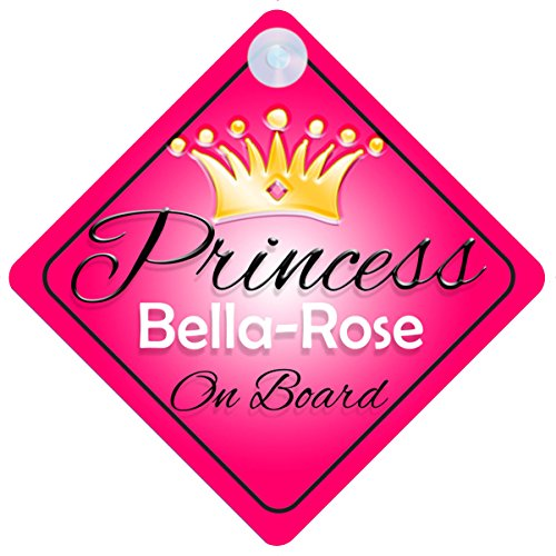 (Princess Bella-Rose On Board Personalised Girl Car Sign Baby / Child Gift 001)