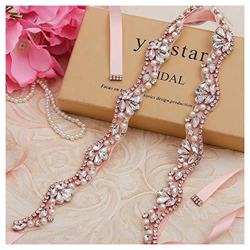 Yanstar Rose Gold Rhinestone Pearl Wedding Bridal Belt Sashes with Blush Ribbon for Prom Bridesmaid Dress