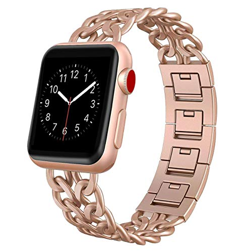 AmzAokay Replacement bands Compatible for Apple Watch 38mm 42mm Stainless Steel Metal Cowboy Chain Strap for Apple Watch 40mm 44mm Series 5 4 3 2 1 Sport and Edition(Gold Matches Series 3&4,38mm/40mm)