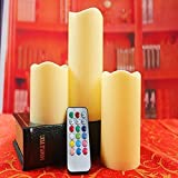 Ecandle Flameless LED Candle Real Flame-effect Candle with 12 colors change modle Timer 12-key Remote Control - Set of 3 for Thanksgiving /Christmas Gift