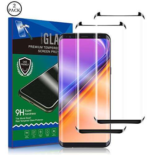 Galaxy S8 Screen Protector, RUAN [2 Pack] Tempered Glass Film,HD Clarity,Case Friendly,Anti Scratch, Curved Edge, Touch Screen Tempered Glass Screen Protector for Samsung Galaxy S8