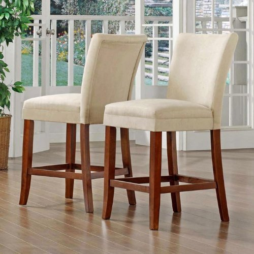 Home Creek Microfiber Counter-Height Chairs - Set of 2