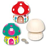Toadstool Ceramic Coin Banks for Children to Design Paint and Decorate - Creative Spring Craft Kit for Kids/Adults (Box of 2)