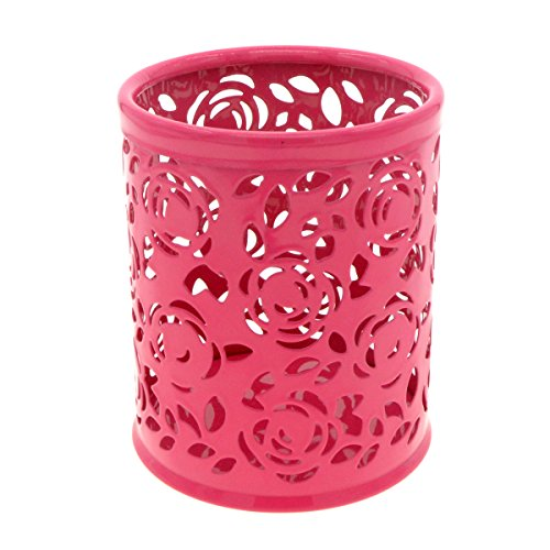 Saim Multi-Color Hollow Rose Flower Pattern Cylinder Pen Pencil Pot Holder Container Organizer (Rose Red) (Hollow Flower Pattern)
