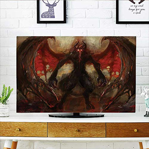 TV dust Cover Decor Devil Shadow with Wings Primary Opponent of God Rising Hell Afterlife Flame TV dust Cover W32 x H51 INCH/TV 55
