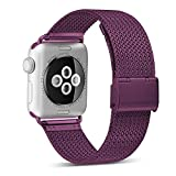 HILIMNY Compatible for Apple Watch Band 38mm 40mm, Stainless Steel Mesh Sport Wristband Loop with Adjustable Magnet Clasp for iWatch Series 1/2 / 3/4, Purple