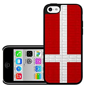 Denmark Flag with White Scandanavian Cross and Red Brick Pattern Background Hard Snap on Phone Case Cover iPhone 5c