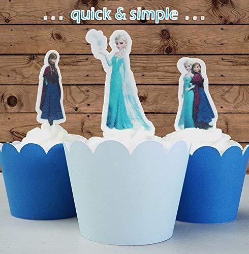 12 x EDIBLE Elsa & Anna Princess Cupcake Cake Toppers