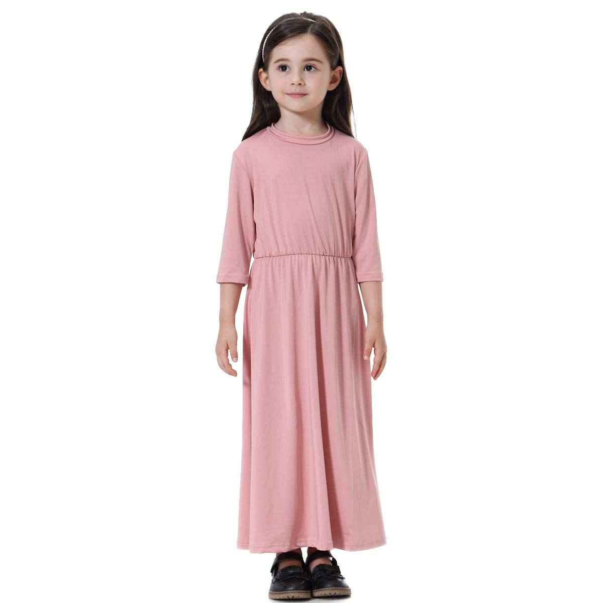 AMSKY Baby Clothes Dividers Floral,Toddler Kids Children Muslim Girls Solid Long Sleeve Dress Casual Long Dess,Pink,150