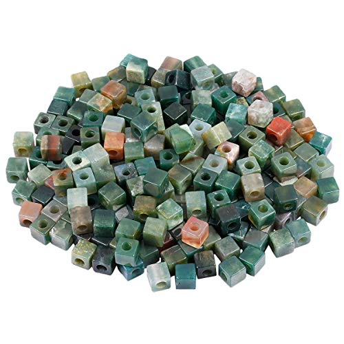 SUNYIK Indian Agate Large Hole Loose Charm European Bead for Jewelry Making, Square Shape, 10x10mm, Pack of 25