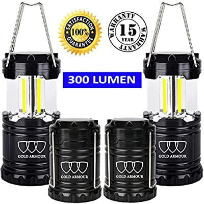 Brightest Camping Lantern - LED Lantern (EMITS 300 LUMENS!) - Camping Equipment Gear for Hiking, Emergencies, Hurricanes, Outages, Storms (Black, 4 Pack)