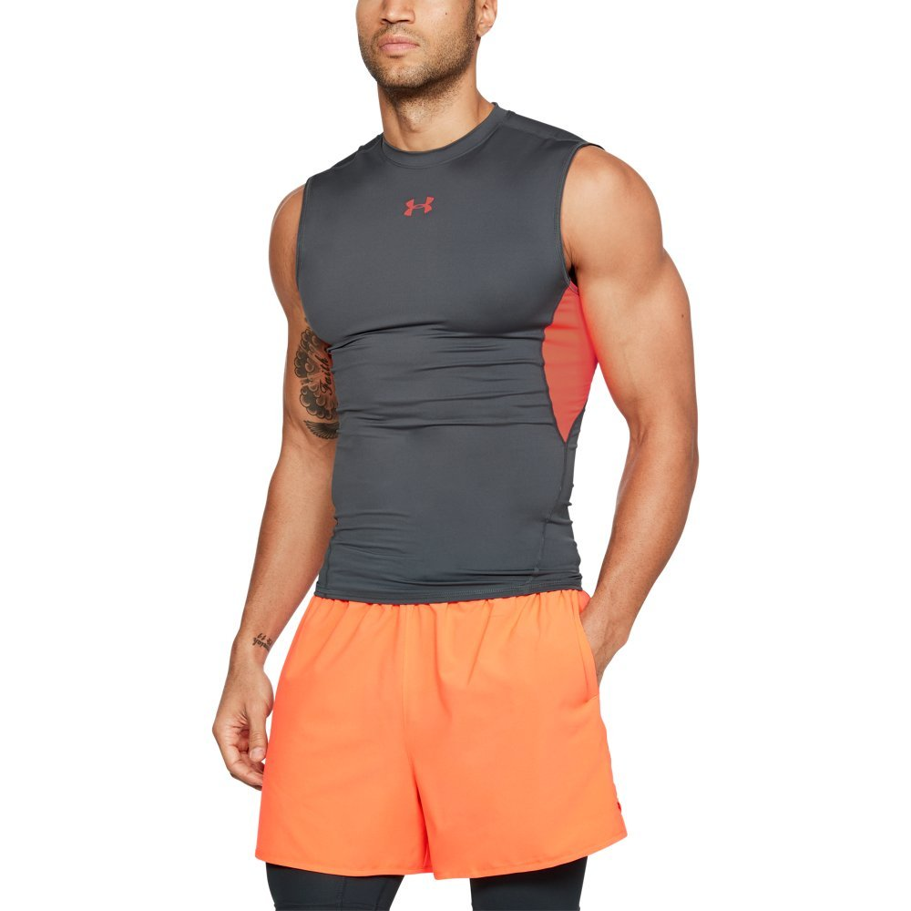 Under Armour Men's HeatGear Armour Sleeveless Compression Shirt, Rhino Gray (076)/Neon Coral, XXX-Large