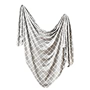 Large Premium Knit Baby Swaddle Receiving Blanket  Midway  by Copper Pearl
