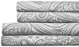 Sweet Home Collection Quality Deep Pocket Bed Sheet Set-2 Extra Pillow Cases, Great Value, Queen, Paisley Gray, 6 Piece
