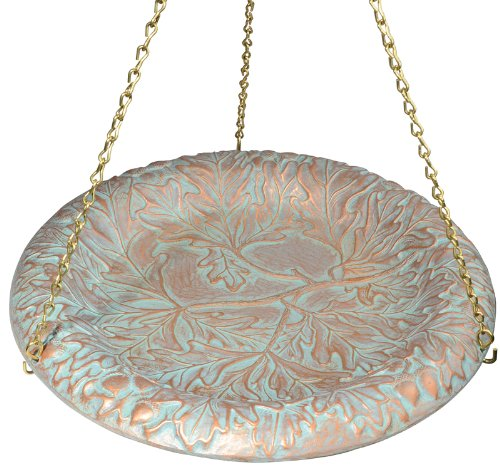 Whitehall Products Oakleaf Hanging Birdbath, Copper Verdi
