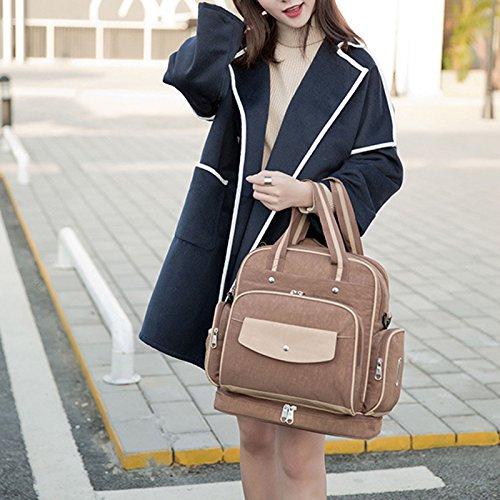 calistous impermeable multifuncional bolso de la mamá bolsa de las mujeres embarazadas Mama bolsa bandolera gran capacidad mochila marrón claro
