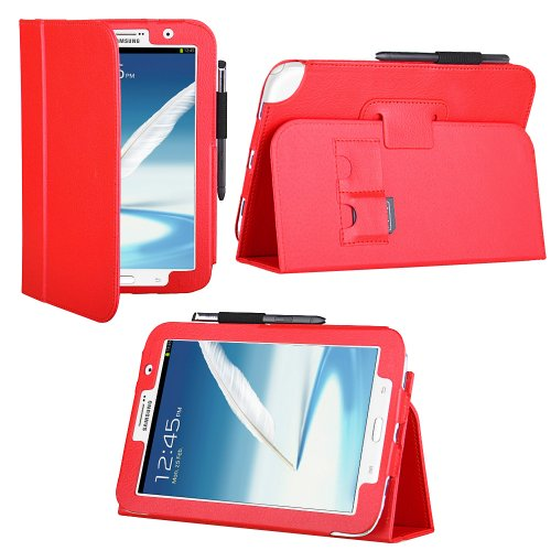 HHI UrbanFlip Series Viewing Stand Case for Samsung Galaxy Note 8.0 - Red (Built-in magnet for sleep and wake feature) (Package include a HandHelditems Sketch Stylus Pen)
