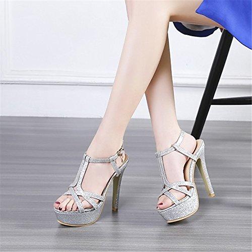 ZHZNVX Chaussures Supports personnalisés de similicuir Nouveauté Printemps Été sandales talon pompe de base pour mariage,Soirée Gold argent rouge Red