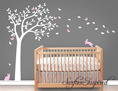Wall Decal Nursery Wall Decals Tree Decal with Adorable Bunnies and Butterflies sIJIEK