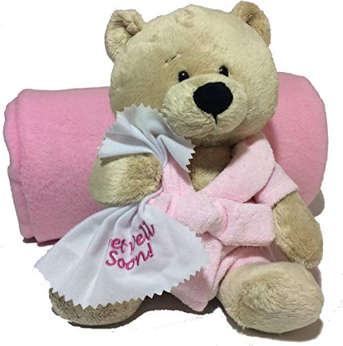 Ganz 10.5 Get Well Teddy Bear with Pink Robe Plush and Deluxe Fleece Blanket from Northeast Fleece (Pink Robe Bear with Blanket) (Best Present For 3 Year Old)