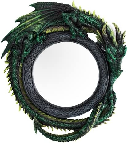 Gothic 11.75 Tall Jade Pagoda Green Intertwined Dragon Round Wall Mirror Plaque Home Decor