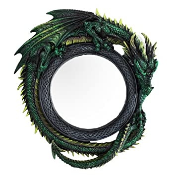 Ebros Gift Gothic 11.75 Tall Celtic Jade Pagoda Green Intertwined Dragon Round Wall Mirror Hanging Plaque Home Decor Sculpture Vanity Decorative Mirrors