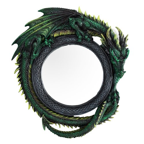"Ebros Gift Gothic 11.75"" Tall Celtic Jade Pagoda Green Intertwined Dragon Round Wall Mirror Hanging Plaque Home Decor Sculpture Vanity Decorative Mirrors"