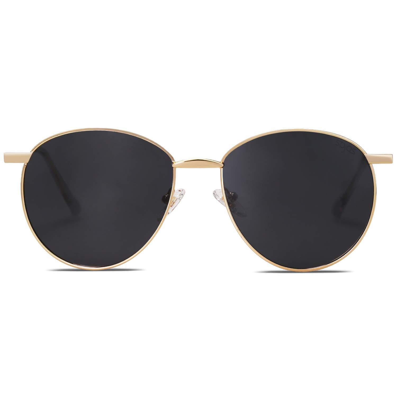 SOJOS Oval Round Polarized Sunglasses for Women Men Metal Frame DEWDROP SJ1117 with Gold Frame/Grey Polarized Lens by SOJOS