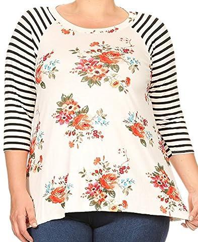 Women Plus Size Striped Sleeve Floral Printed Jersey Tunic Knit Top Tee White Orange XL B4991 - Plus Size Print Jersey