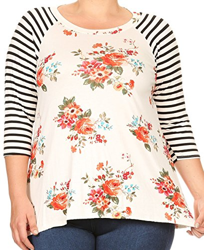 s Size Striped Sleeve Floral Printed Jersey Tunic Knit Top Tee White Orange XL B4991 ()