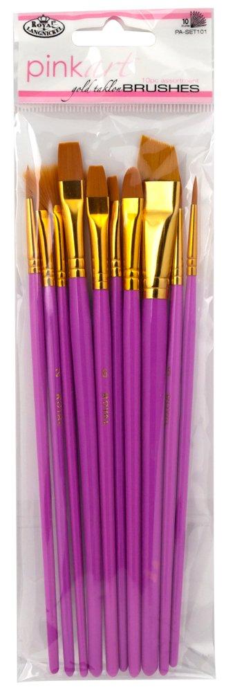 Royal & Langnickel Pink Art Golden Taklon Brush Set (Pack of 10) PA-SET101