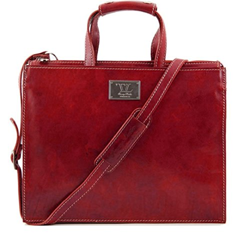 Tuscany Leather - Damen-Aktentasche - 37x29x10cm - Div. Fächer - Echt Leder - Farbe: rot