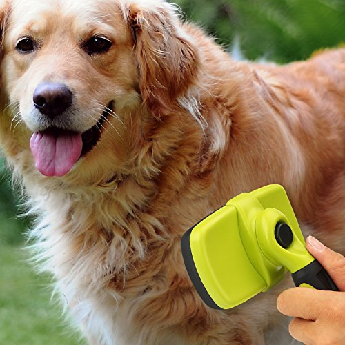 Dog Brush Cat Pet Grooming Brush Comb Self Cleaning Slicker Brush Reduces Shedding Up to 90% Removes Tangles De Sheds for Long Medium & Thick Hair Pet Green and Black by Pecute (Image #7)