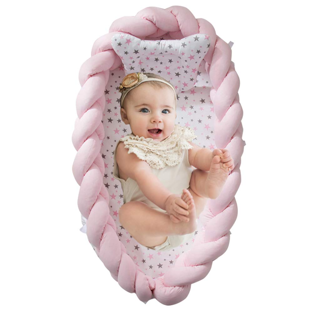Brandream Baby Nest Bed Braided Crib Bumper/Cot Bumper - Braided Babynest Co Sleeping Baby Cocoon Newborn Infant Bassinet/Lounger for Bed (Pink) by Brandream