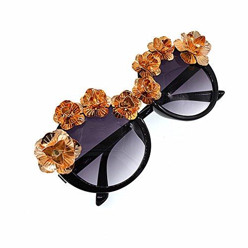 métal Or soleil Show à Fashion élégant de femmes de Style la Pour les plage fleur couleur baroque lunettes rétro la pour main de unisexe soleil Ronde d pêche Style soleil lunettes voyage en lunettes I0agHa