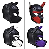 ZHS Quality Soft Padded Latex Rubber Puppy Play Dog Cosplay Full Head Mask with Ears Fetish Muzzle Hood Pet Role Play Gimp Costume 1pc