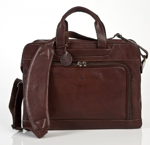 Tony Perotti Italian Cow Napoli Laptop Zip-Around Double Compartment Leather Briefcase, Brown