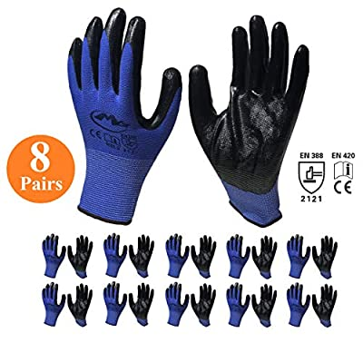 Rubber Nitrile Latex Coated Safety Working Gloves For Men and Women, Flex Knit Gardening Gloves With Firm Grip Coating (8 Pair Value Pack)