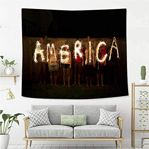 BEIVIVI Wall Tapestry Wall Hanging America in Sparklers Independence Day Celebration July 4th Wall Tapestry with Art Nature Home -