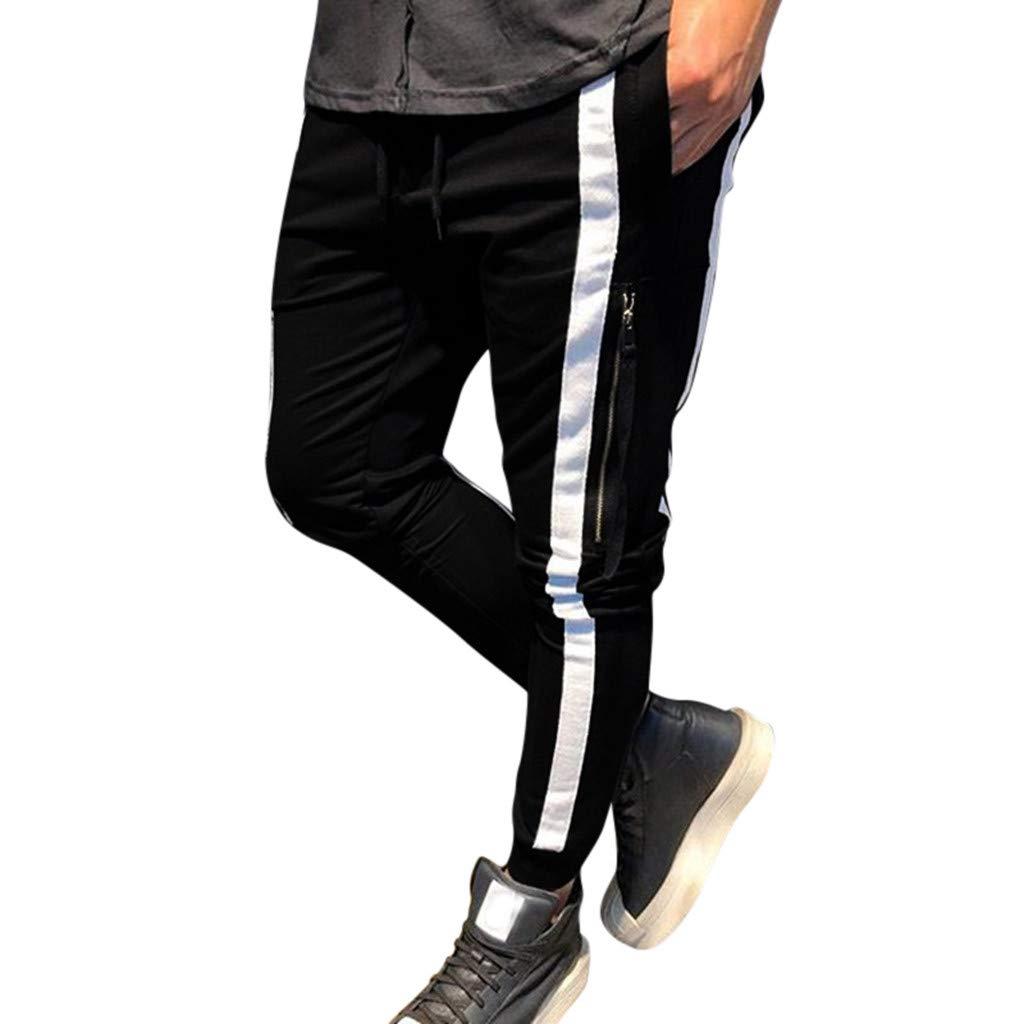 Aleola Men Casual Solid Drawstring Elastic Waist Sport Long Pant Trousers (White,XXL) by Aleola_Men's Pants