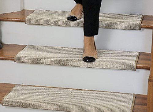 Casanova Sisal Inspired Bullnose Carpet Stair Tread With Adhesive Padding,  Color   Parchment, By Tread Comfort