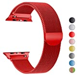 Seoaura Compatible Apple Watch Band 42mm, Stainless Steel Milanese Loop Replacement Strap with Magnetic Closure iWatch Series 1 2 3 Sports (Red, 42mm)