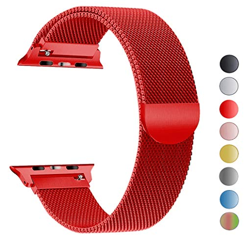 Seoaura Compatible Apple Watch Band 42mm 44mm, Stainless Steel Milanese Loop Replacement Strap with Magnetic Closure iWatch Series 4 3 2 1 Sports (Red, 42mm/44mm)