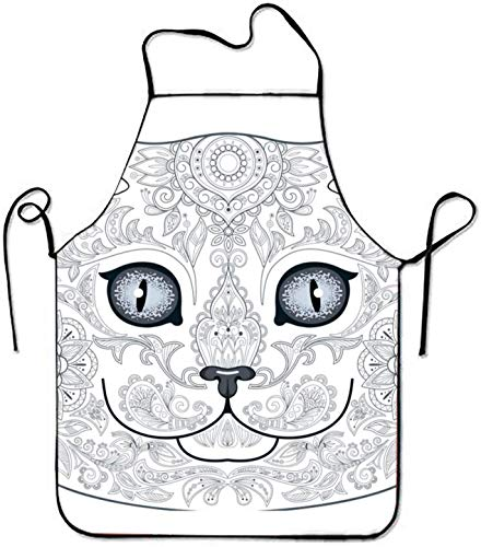 Smbada Unisex Aprons Cat Head Tattoo with Floral for Kitchen Stitched Edges