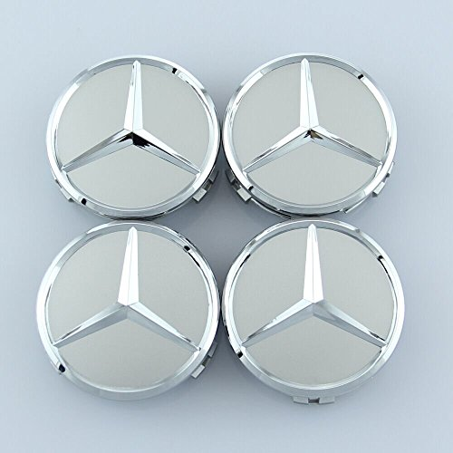 SDSB Wheel Center Caps For Mercedes Benz 75mm - Raised Star Wheel Rim Insert Caps (Silver)