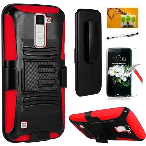 LG K10 (2016 Released) / Premier LTE L62VL L61AL Case, Luckiefind Hybrid Armor Stand Case with Holster and Locking Belt Clip (Holster Red) ()
