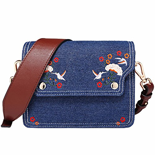 nuovo retro wild ricamati schema denim ampia tracolla piccola piazza borsa, in borsa.,blu blu